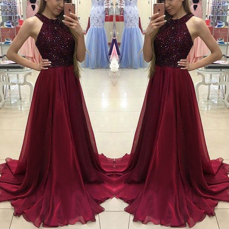 Hot Women Ladies Formal Dress Long Evening Party Ball Gown Ladies Shinny Halter Dresses
