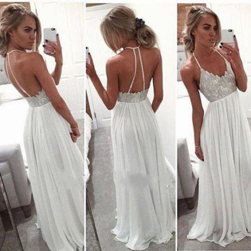 New Fashion Casual Women Ladies Dresses Formal Backless Loose Dress Prom Evening Party White Dress
