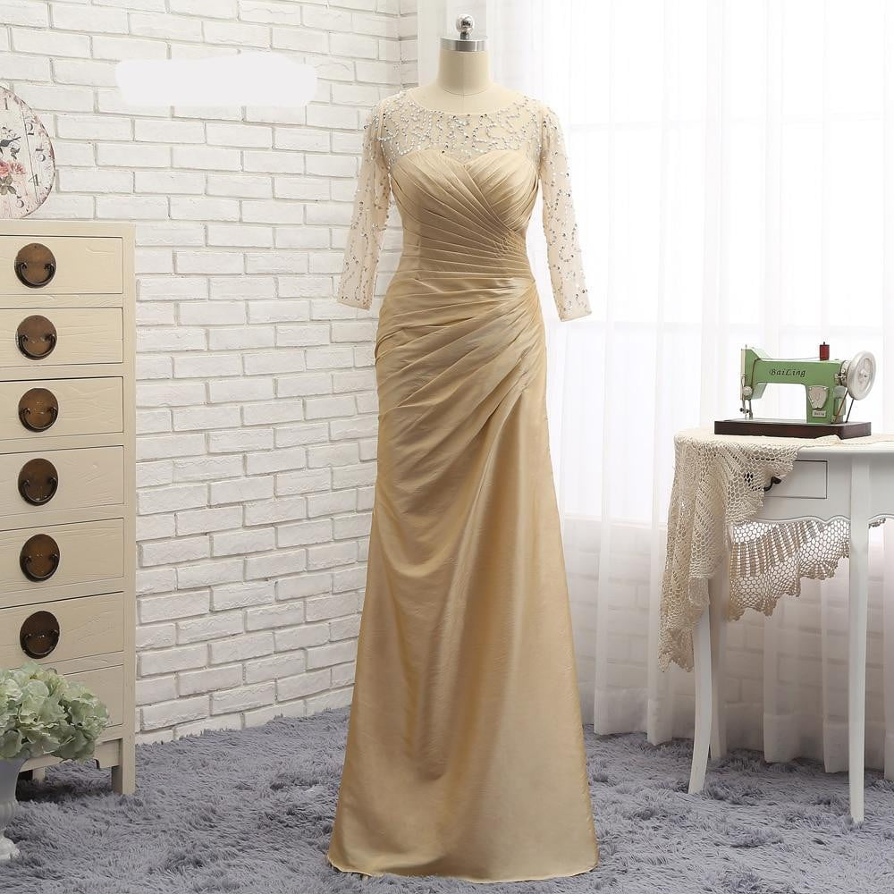 Plus Size Gold 2019 Mother Of The Bride Dresses Mermaid 3/4 Sleeves Taffeta Bead Wedding Party Dress Mother Dresses