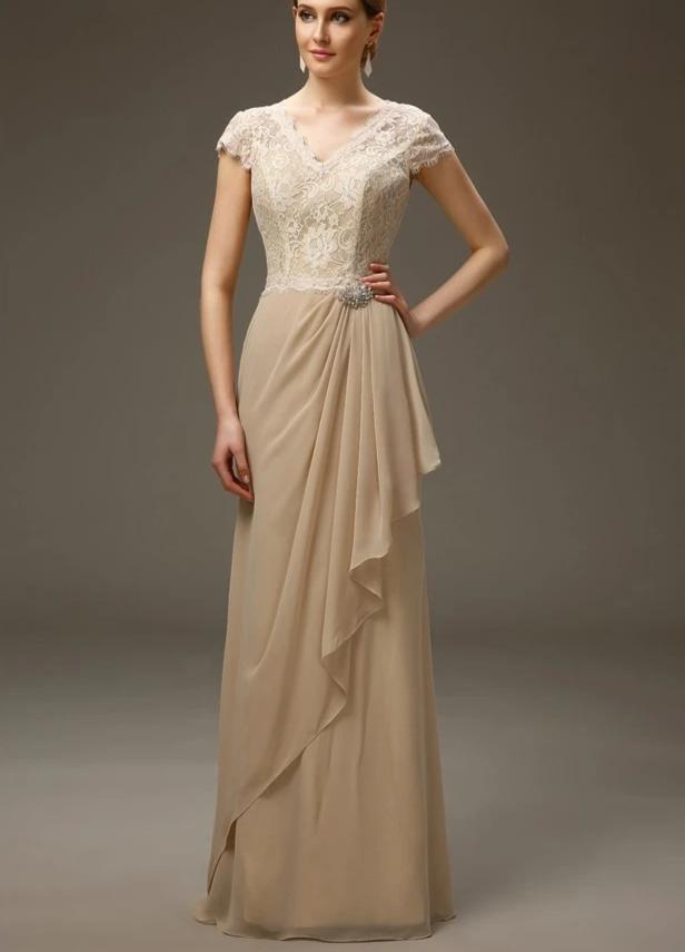 Champagne 2020 Mother Of The Bride Dresses A-line V-neck Cap Sleeves Chiffon Lace Long Elegant Groom Mother Dresses For Wedding