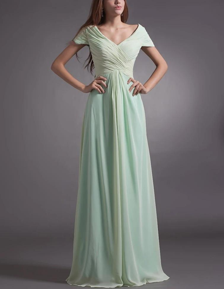 Mint Green 2020 Mother Of The Bride Dresses A-line Cap Sleeves Chiffon Backless Long Elegant Groom Mother Dresses Wedding