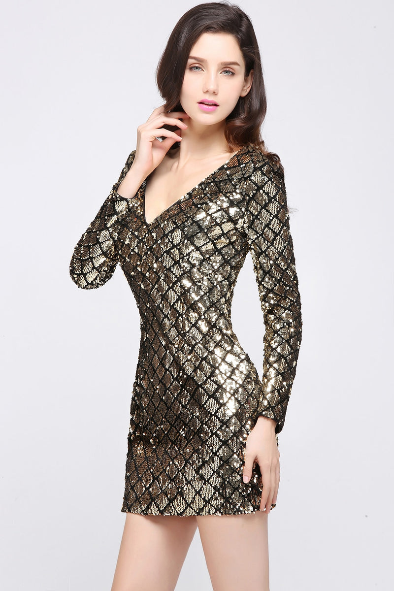 2019 Gold Short Cocktail Dresses 2019 Sexy V Neck Sequins Above Knee Women Prom Dress Sheath Bodycon Mini Formal Party Dresses