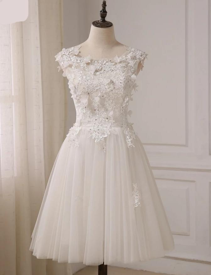 New Short Wedding Dresses Cap Sleeve Beaded Lace Tulle A-line Bridal Gowns Vestidos De Novia with Lace-up Back