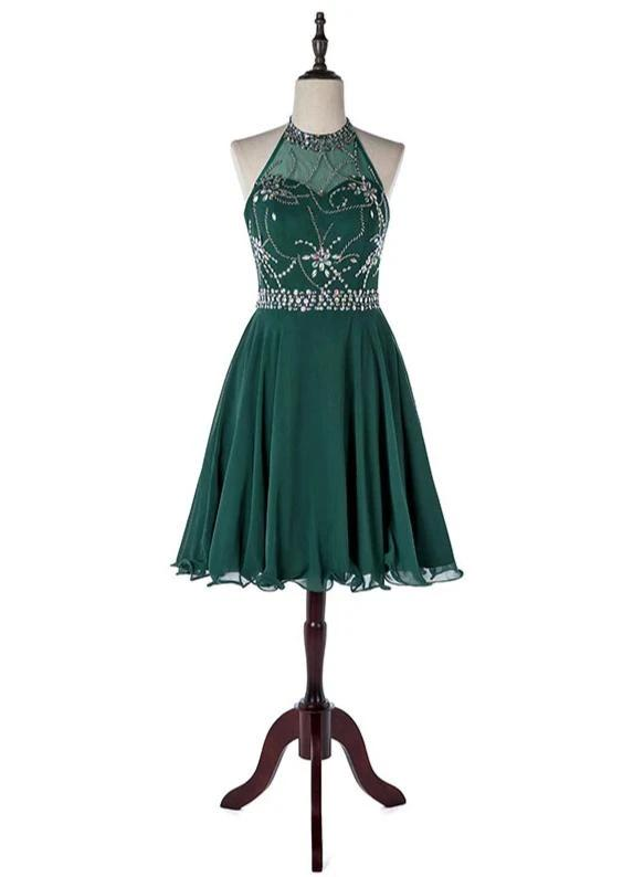 Sexy Dark Green Short Prom Dresses 2020 Crepe Crystals Beaded Party Dress Knee Length Vestido De Festa