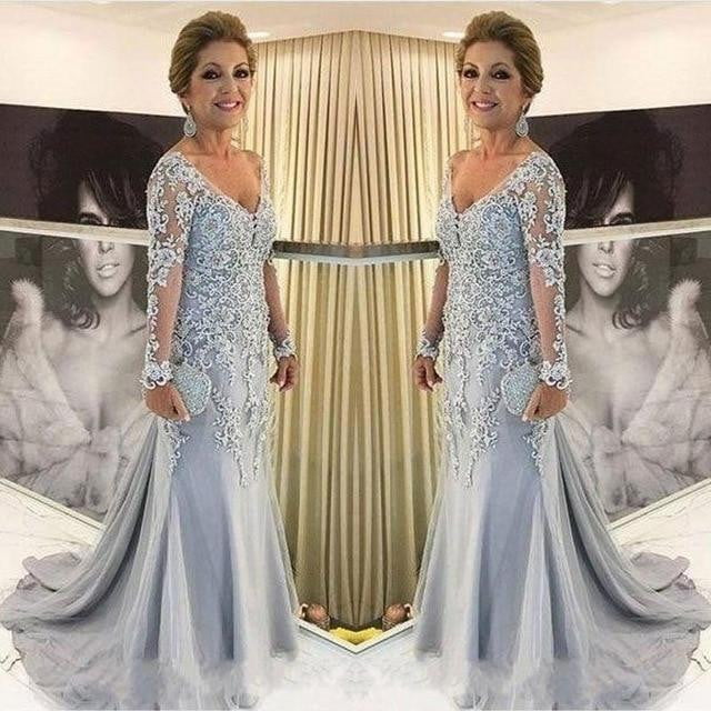 V Neck Long Sleeve Mermaid Lace Appliques Beads Long Plus Size Party Mother Of The Bride Dresses