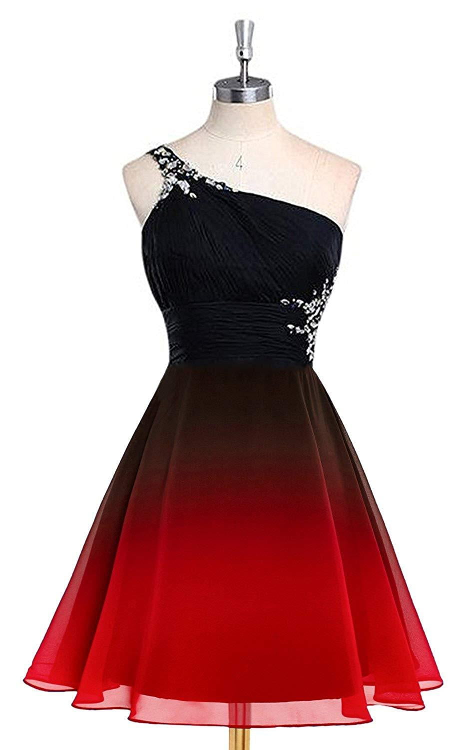 2019 Gradient Chiffon Short Prom Dresses One shoulder Beads Evening Homecoming Dress