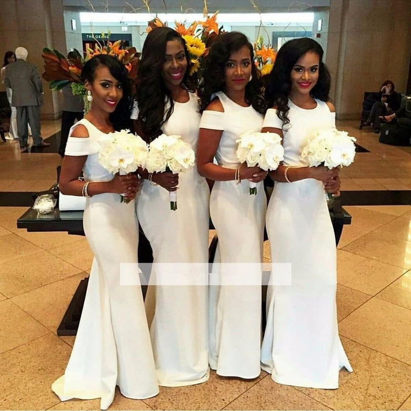 White 2019 Mermaid Cap Sleeves Long Wedding Party Bridesmaid Dresses