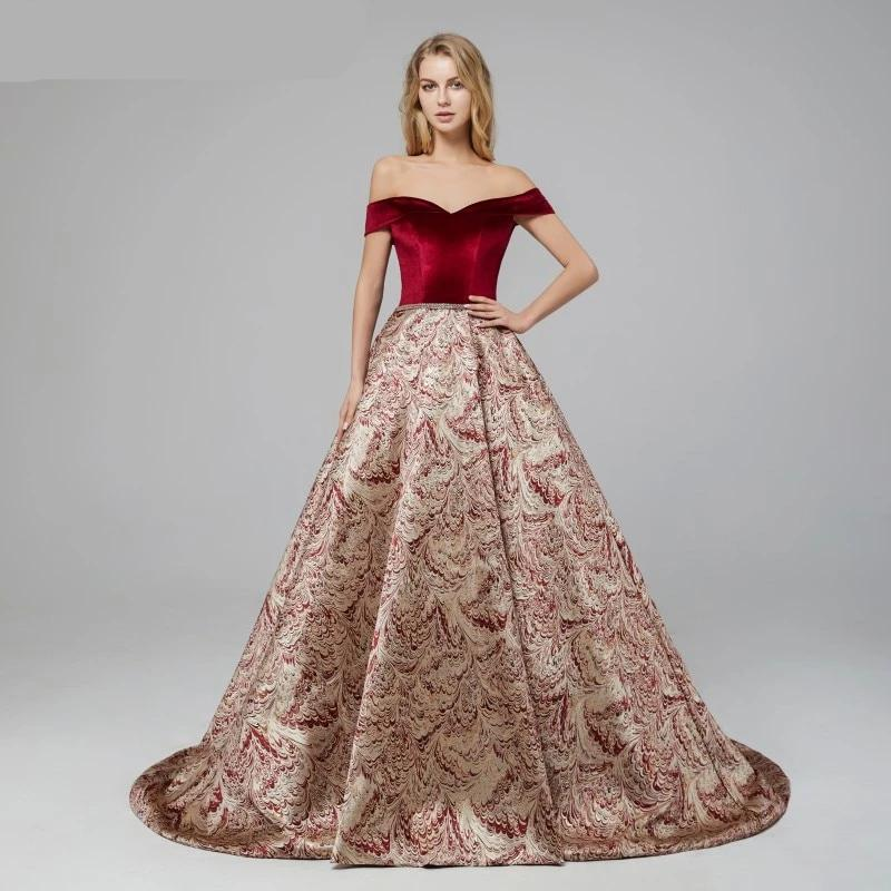 Sexy Burgundy Ball Gowns Evening Dresses 2020 Sale Robe De Soiree Lace up Corset Off Shoulder Celebrity Formal Party Prom Gowns