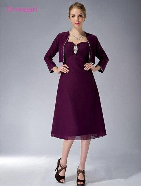 Purple 2019 Mother Of The Bride Dresses A-line Chiffon Beaded Tea Length Plus Size Short Elegant Groom Mother Dresses Wedding