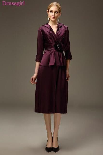 Purple 2020 Mother Of The Bride Dresses Sheath V-neck Taffeta Tea Length Plus Size Short Elegant Groom Mother Dresses Wedding