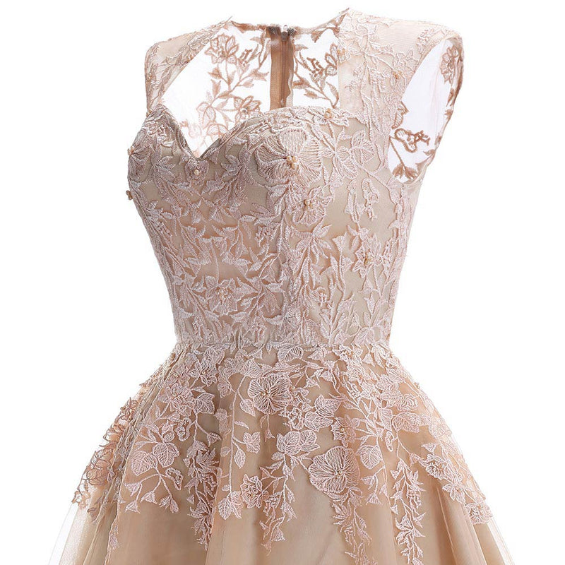Chic Champagne Knee Length Homecoming Dresses 2019 Short Lace Homecoming Dress Party Gowns Cheap Graduation Dresses