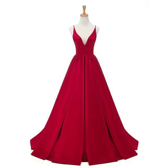 2019 Red Sexy Satin Evening Dresses Long A-line Prom Dresses V-neck Evening Party Dresses Prom Dress