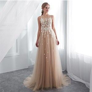Vestidos De Gala Largos Sleeveless Prom Dresses 2019 Long Floor Length Champagne Party Gowns Robes De Soiree Formal Prom Dress