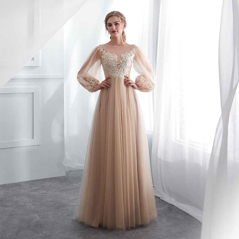 Champagne Prom Dresses Long Puff Sleeves Venice Lace Full Length Evening Dresses Party Gown Formal Dresses