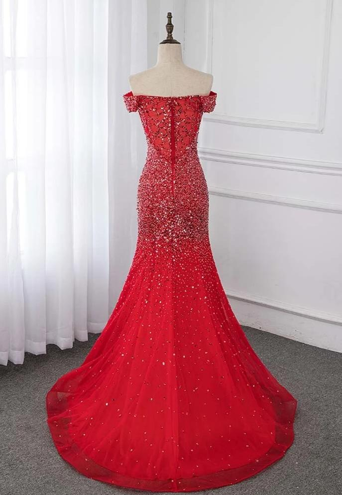 Off Shoulder Red Mermaid Evening Dress 2020 Formal Dresses Evening Gown Competition Robe de Soiree Sequin Beading Tulle