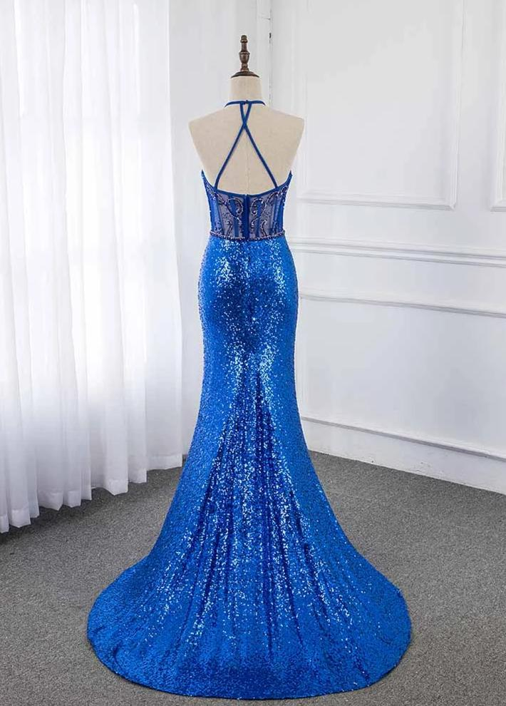 Royal Blue Crystals Long Prom Dresses Sleeveless Halter Sequin Mermaid Evening Gown