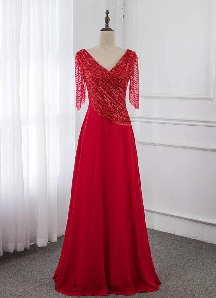 Red Half Sleeve Formal Evening Gown Dresses Long V Neck Chiffon Sequins Women Party Dress Robe De Soiree