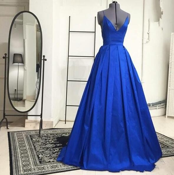 Blue V Neck Prom Dresses Long Stain Evening Ball Gowns Draped Formal Dresses