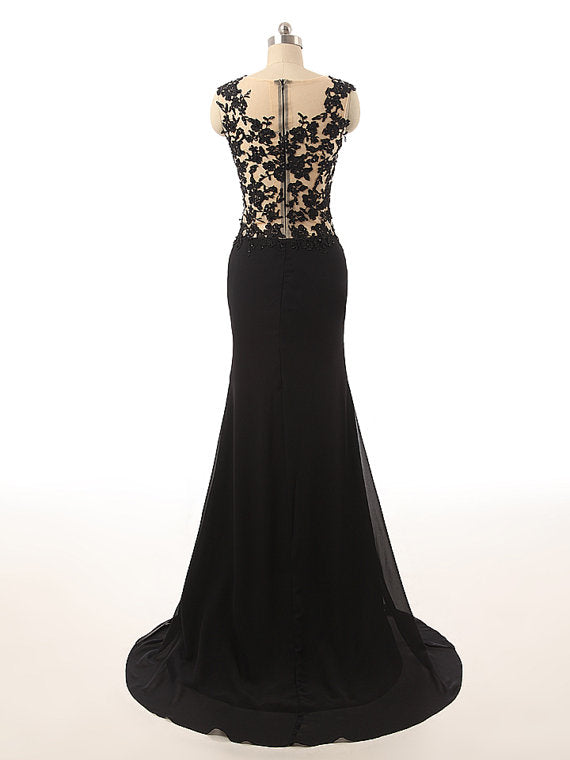 Black Scoop Lace Appliques Floor Length Prom Dress Beaded Bodice Mermaid Party Dresses