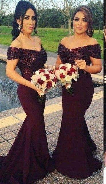 Purple 2019 Cheap Bridesmaid Dresses Mermaid V-neck Cap Sleeves Sequins Long Wedding Party Dresses For Women