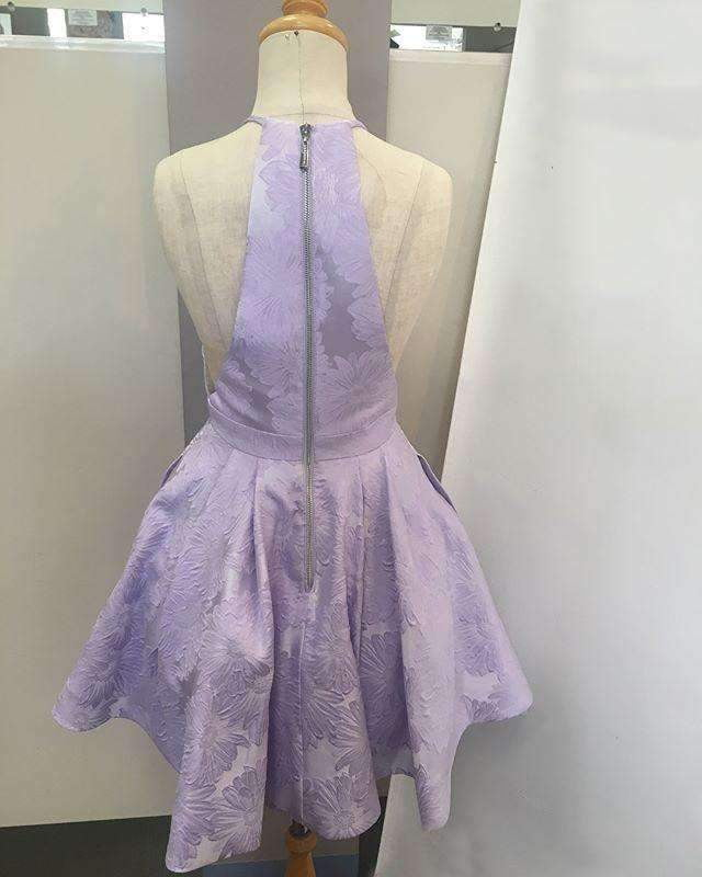 Purple Floral Prints Satin Halter Cut Neckline Homecoming Dresses ,HD0012