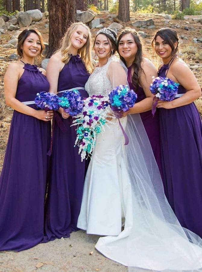 Purple Halter Sleeveless A Line Chiffon Long Bridesmaid Dresses
