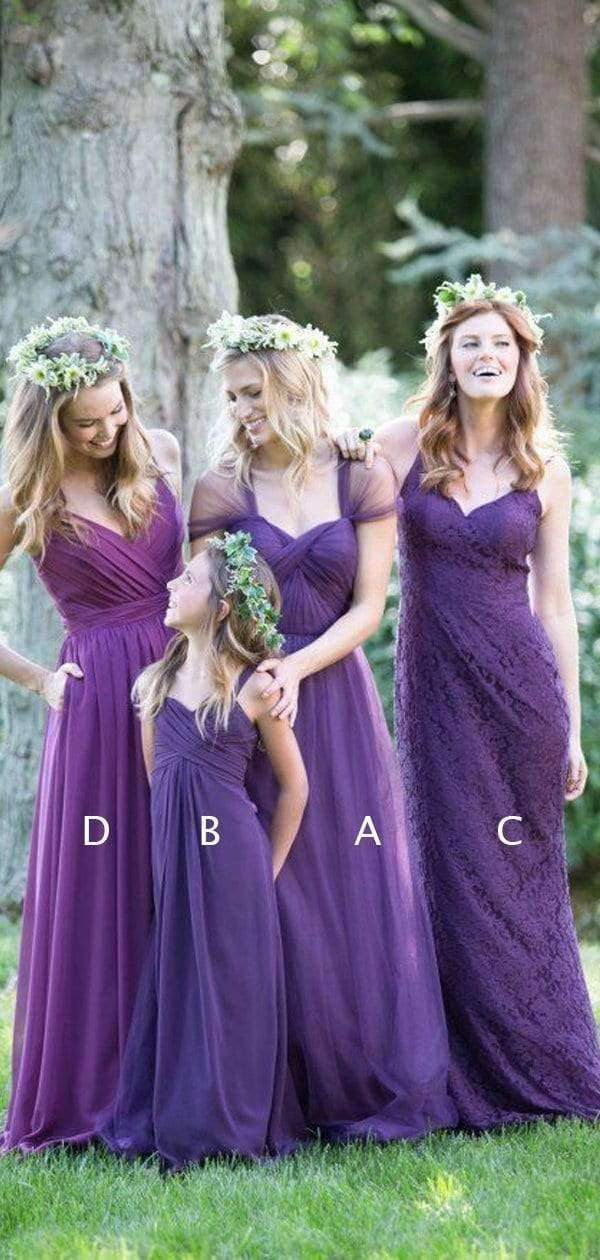Purple Mismatched Elegant Convertible Long Bridesmaid Dresses , AB4042