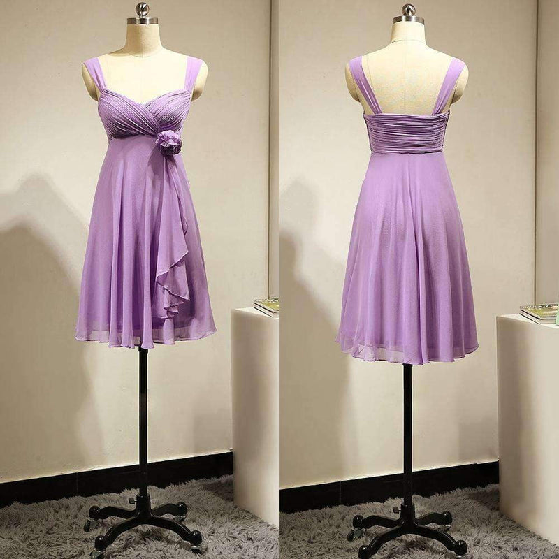 Purple Sweetheart Empire Chiffon Bridesmaid Dresses Short Prom Dresses