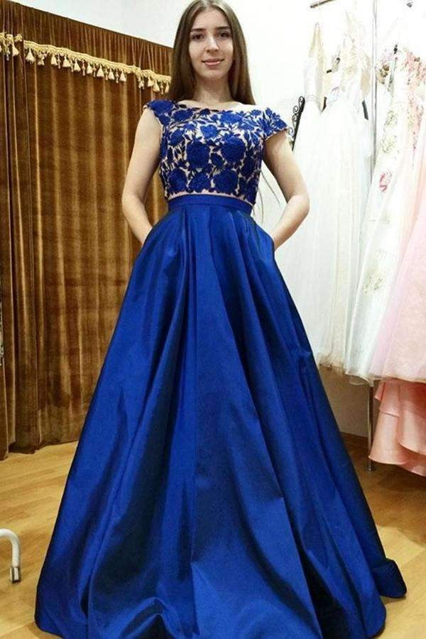 Red A Line Brush Train Capped Sleeve Lace Prom Dress,Party Dress P446