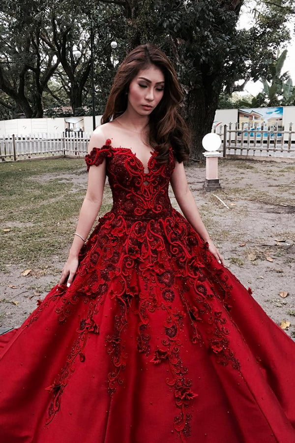 Red A Line Floor Length Off Shoulder Appliques Floral Long Prom Dress,Party Dress P220