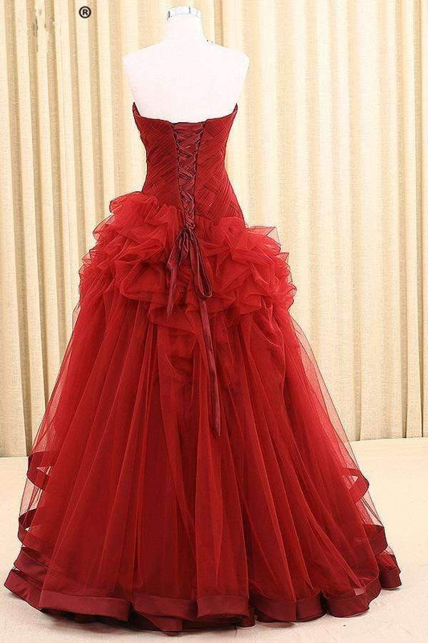 Red A Line Floor Length Sweetheart Strapless Sleeveless Mid Back Ruffles Prom Dress,Party Dress P126