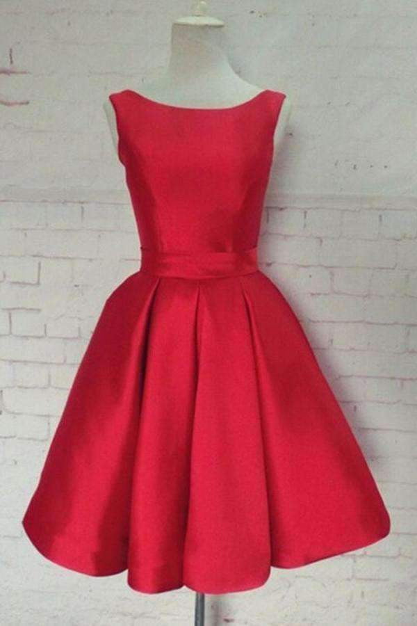 Red A-Line/Princess Sleeveless Scoop Sash Satin Mini Dresses,Homecoming Dresses M288