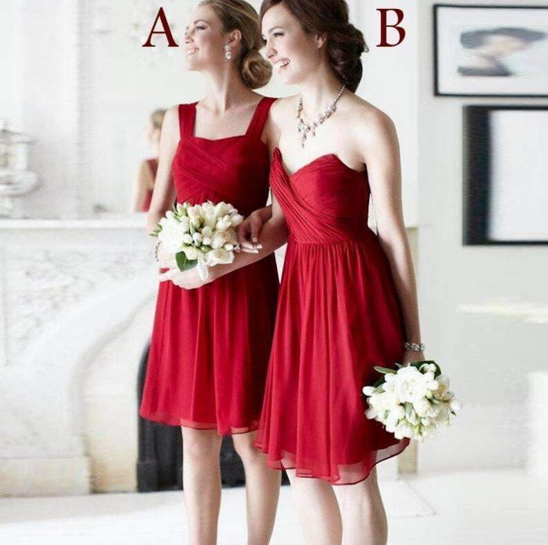 Red Empire Sleeveless A Line Bridesmaid Dresses Inexpensive Prom Dresses