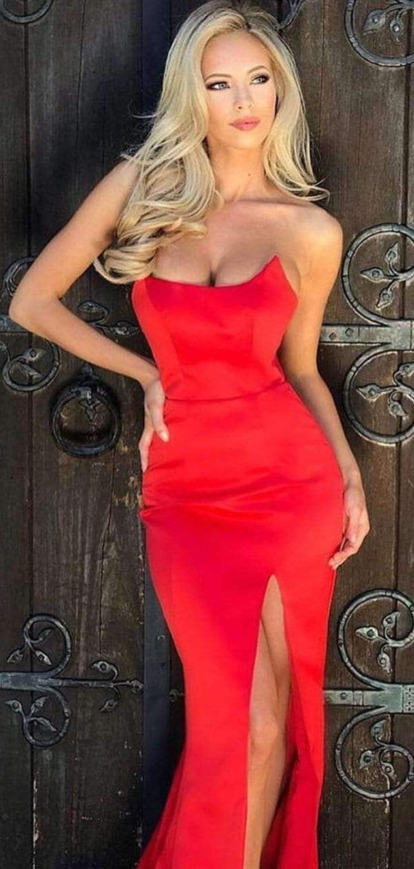 Red Satin Strapless Simple Silt Long Prom Dresses ,PD00169