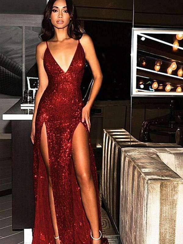 Red Sequin Spaghetti Strap Backless Silt Prom Dresses,PD00205