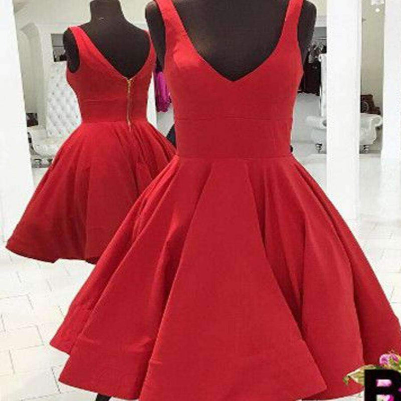 Red simple v-neck freshman A-line cheap homecoming  dresses,BD00141