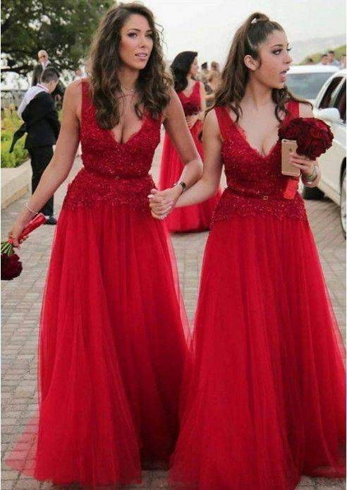 Red Sleeveless V Neck A Line Prom Dresses Affordable Bridesmaid Dresses