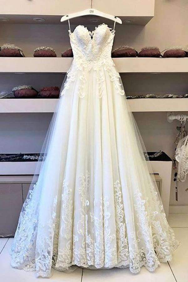 Romantic Sweetheart Spaghetti Straps Lace Wedding Dresses with Appliuqes W518
