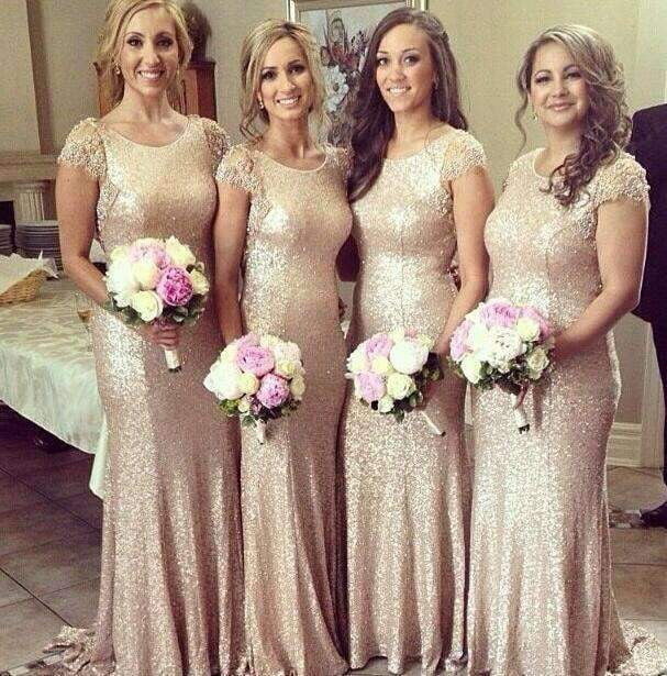Rose Gold 2019 Cheap Bridesmaid Dresses Mermaid Cap Sleeves Sequqins Beaded Long Wedding Party Dresses For Women