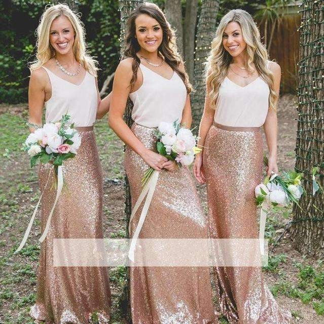 Rose Gold 2019 Cheap Bridesmaid Dresses Sheath V-neck Chiffon Sequins Long Wedding Party Dresses For Women