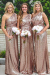 Rose Gold One Shoulder Sleeveless Sequin mermaid Bridesmaid Dresses Long Maxi Evening Dresses