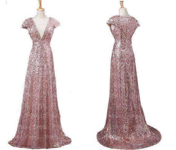 Rose Gold V Neck Cap Sleeves Sequin Prom Dresses Affordable Bridesmaid Dresses