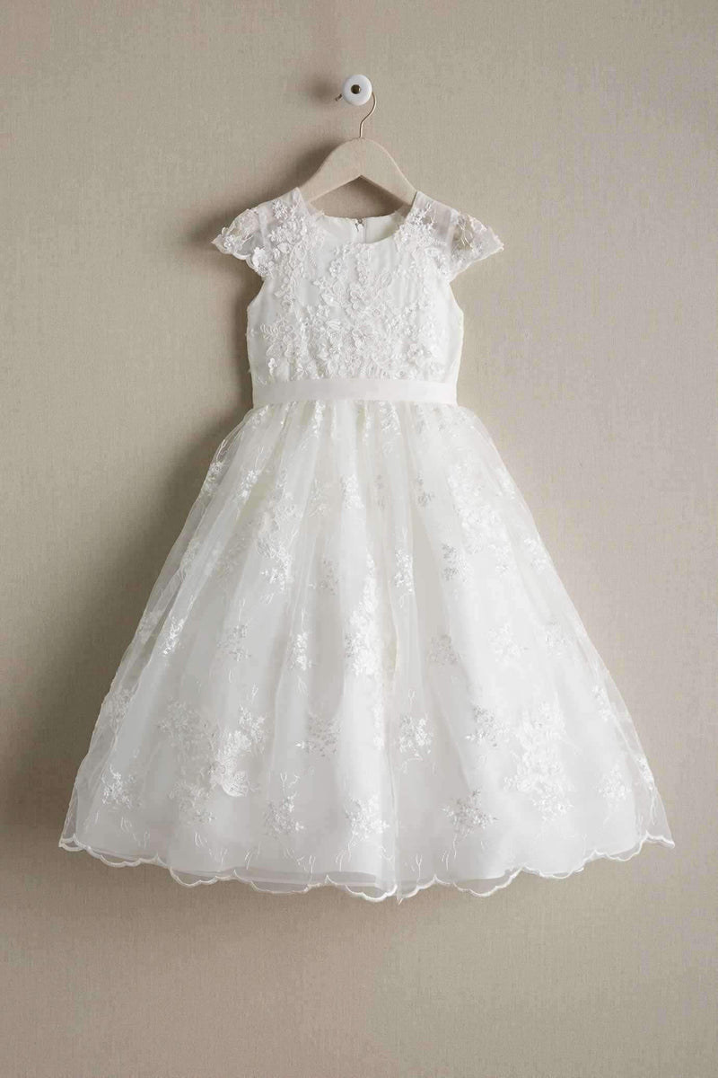 Round Neck Off White Lace Cap Sleeve With Sash Long Flower Girl Dresses, FGS099
