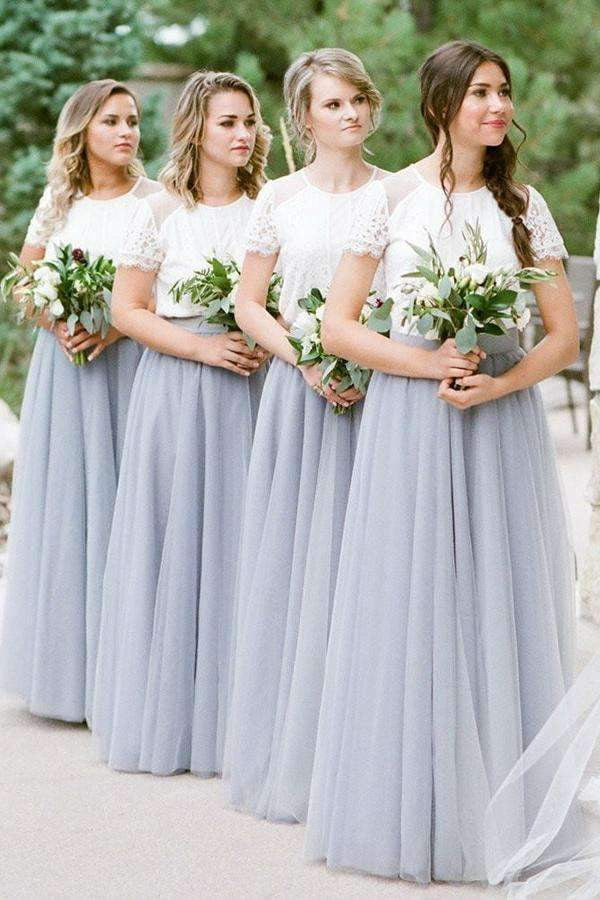Round Neck Short Sleeve Lace A Line Tulle Long Bridesmaid Dresses