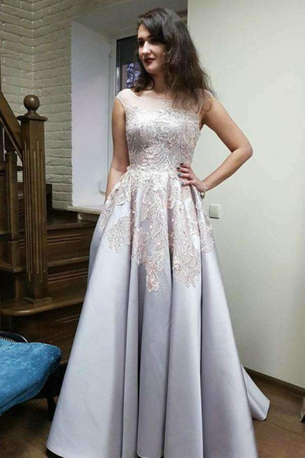 Round Neck Sleeveless Sweep Train Satin A Line Prom Dress With Appliques P826