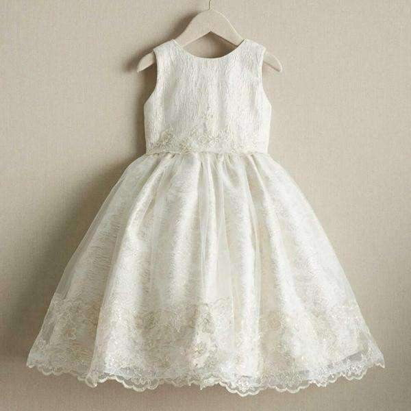 Round Neck Stunning Ivory Lace Cute  Flower Girl Dresses, FGS100