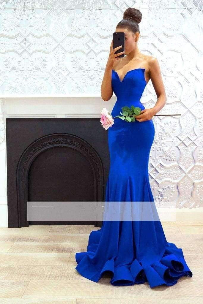 Royal Blue 2019 Cheap Bridesmaid Dresses Mermaid V-neck Long Wedding Party Dresses For Women