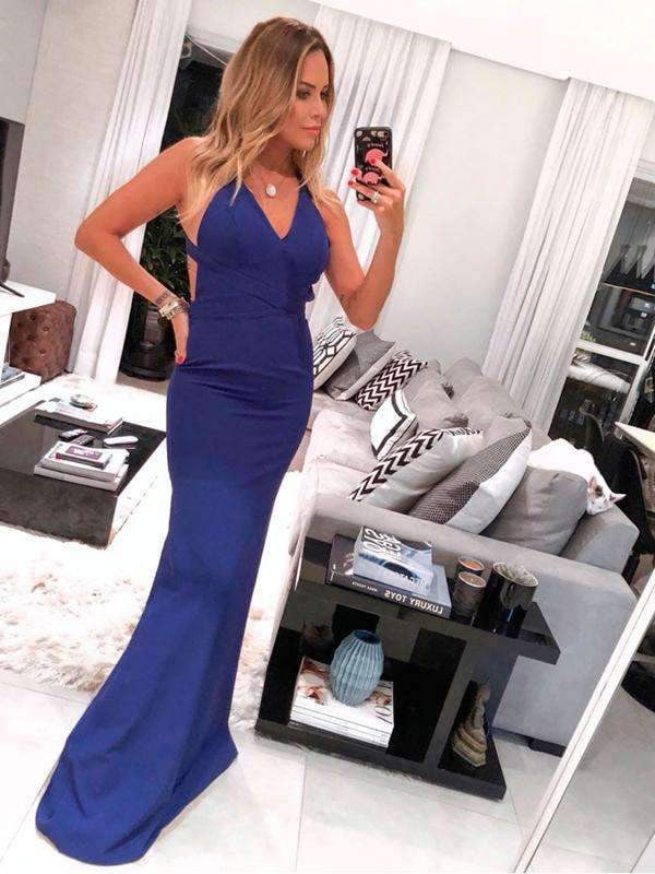Royal Blue Jersey Criss-Cross Backless Mermaid Long Prom Dresses ,PD00306