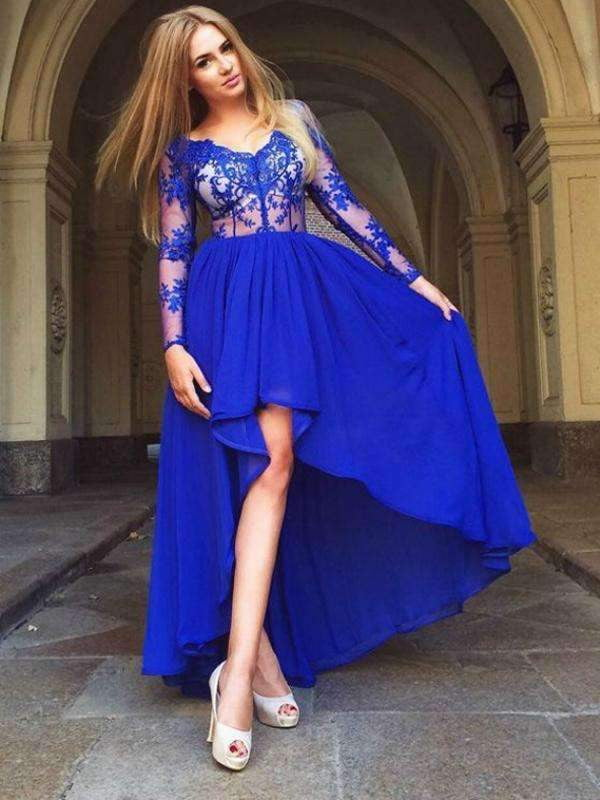 Royal Blue See Through Lace Long Sleeve V-neck High Low Prom Dresses ,PD00060