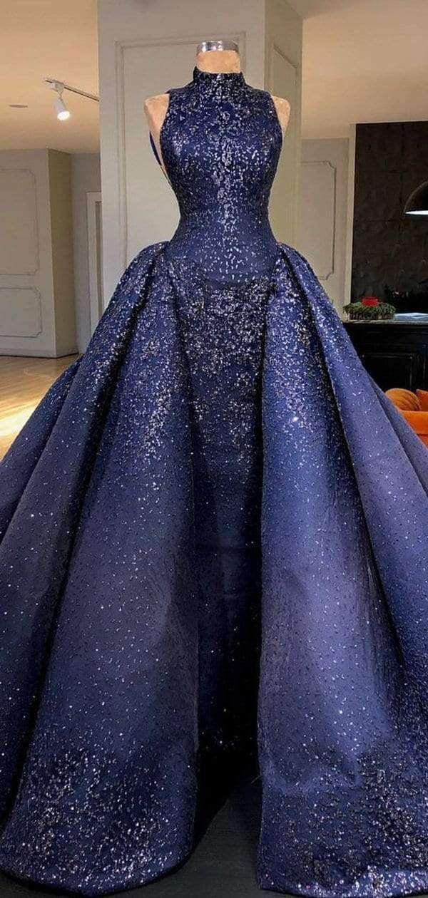 Royal Blue Sparkly Bead Ball Gown Gorgeous Prom Dresses  ,PD00142